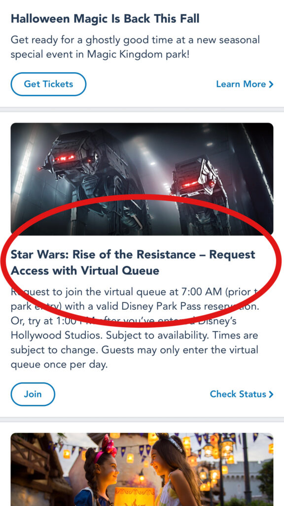 How to access the virtual queue for Rise of the Resistance on the My Disney Experience App.