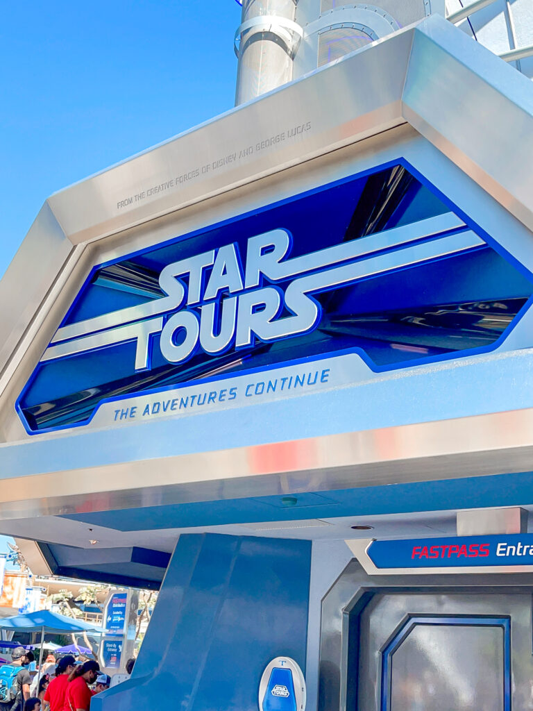 Star Tours: The Adventure Continues in Tomorrowland at Disneyland.