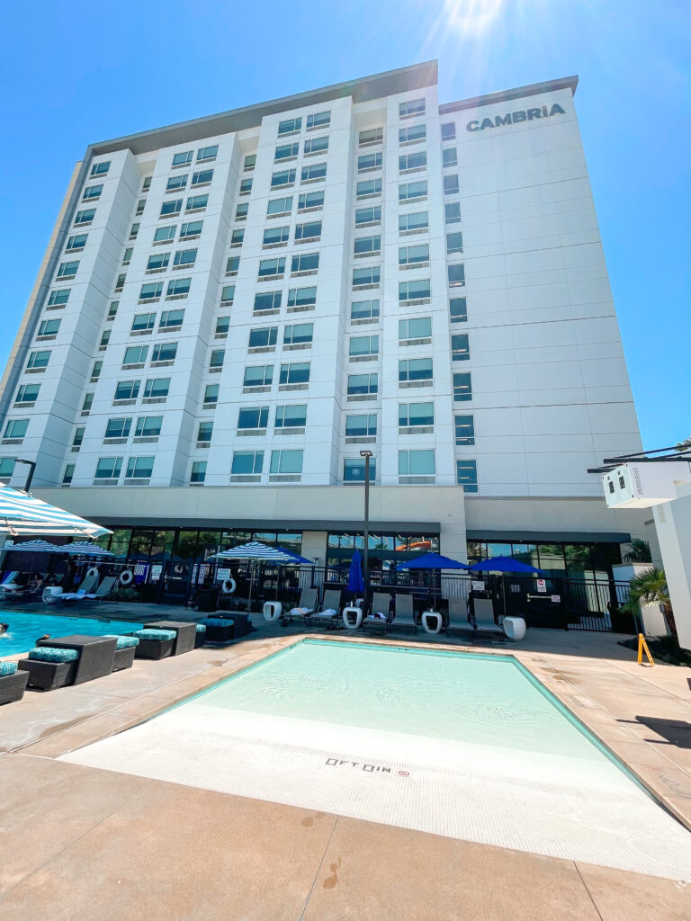 Outside view of Cambria Hotel & Suites in Anaheim.