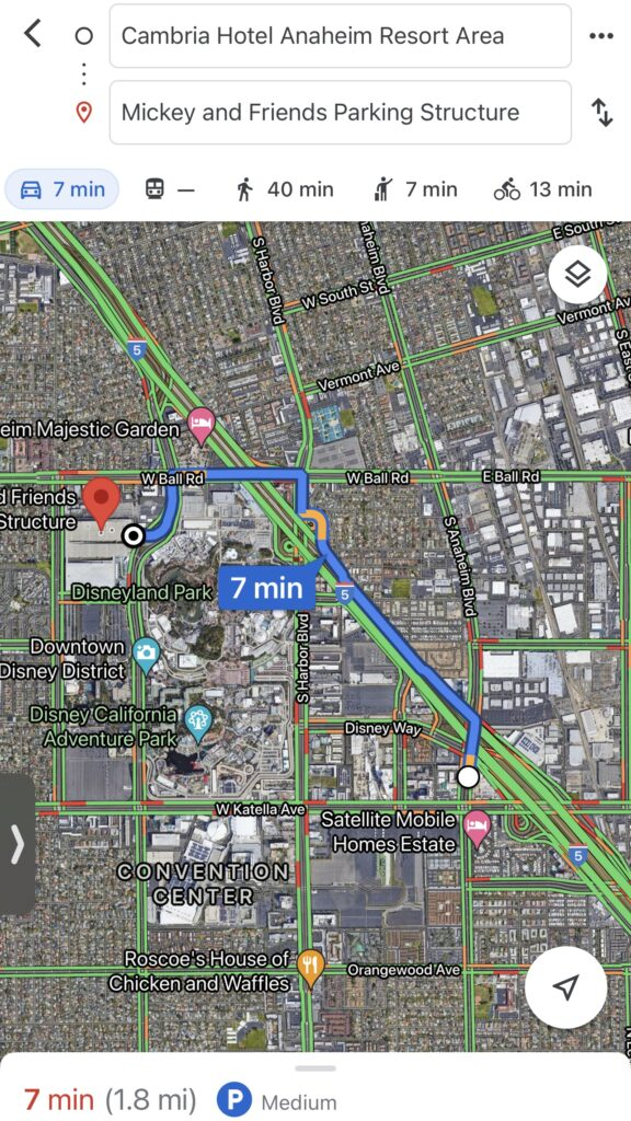 Map showing how long it takes to get from Cambria Hotel & Suites to Disneyland parking.