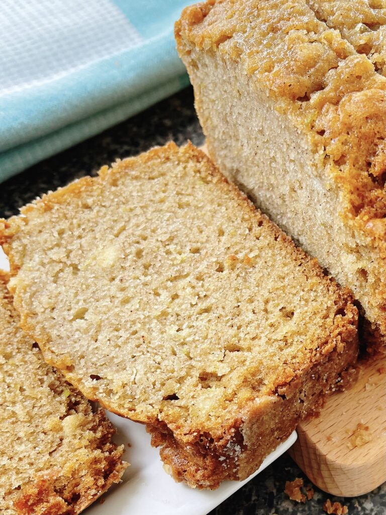 A slice of cinnamon zucchini bread.