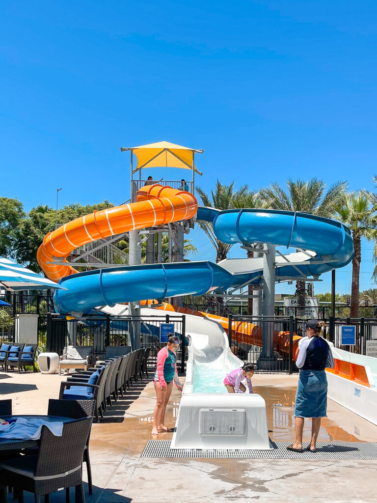 Cambria Hotel & Suites Anaheim water slides.