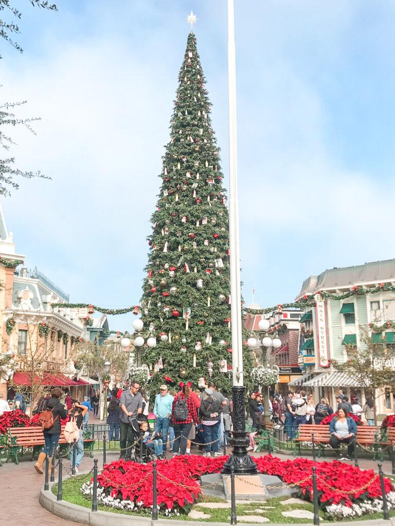 Christmas tree on Main Street U.S.A. at Disneyland.