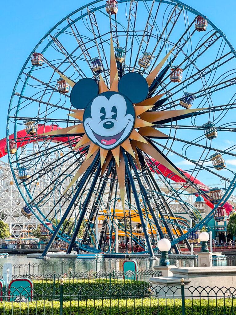 Mickey's Fun Wheel ferris wheel at Disneyland.