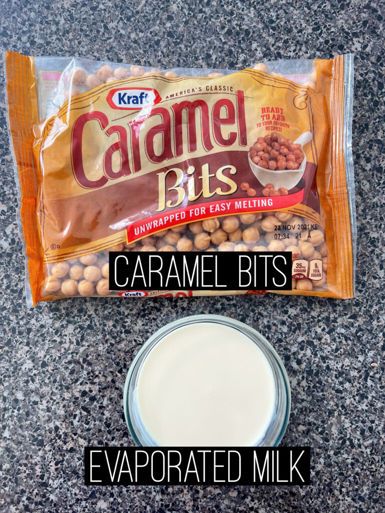 A bag of caramel bits and a bowl of evaporated milk.