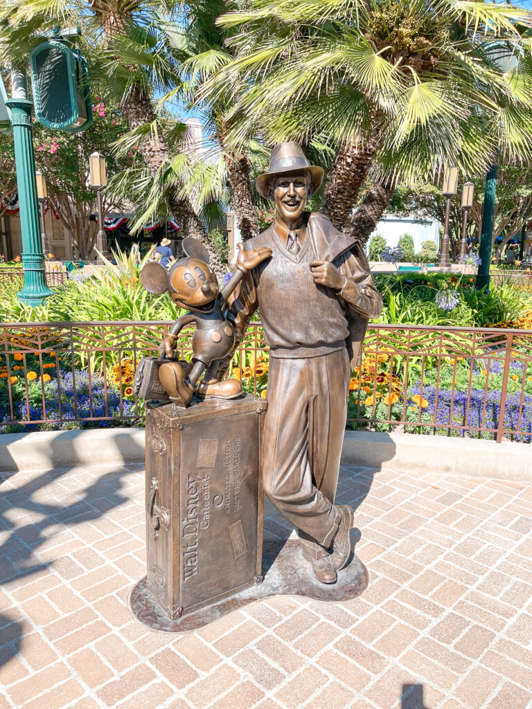 Statue of Walt Disney and Mickey Mouse at Disney California Adventure.