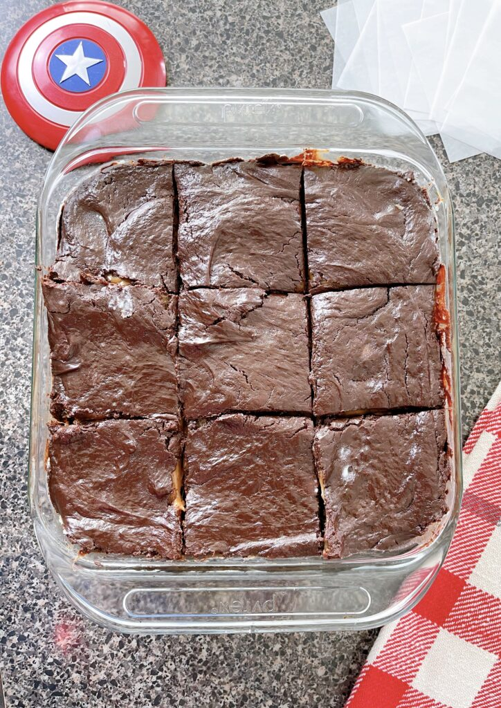 A pan of Snickers Brownies.