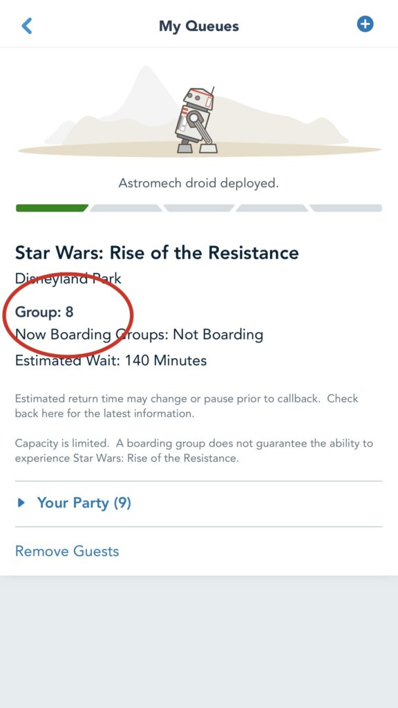 Boarding group 8 for Rise of the Resistance.