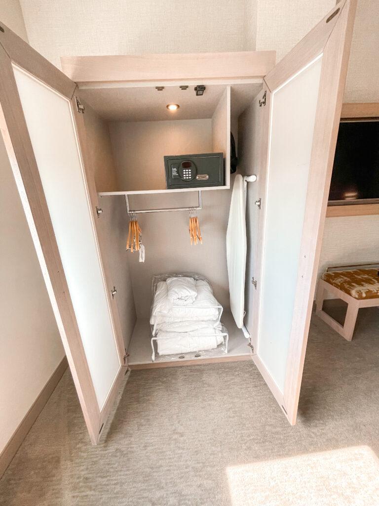 Inside view of closet/wardrobe at Cambria hotel in California.