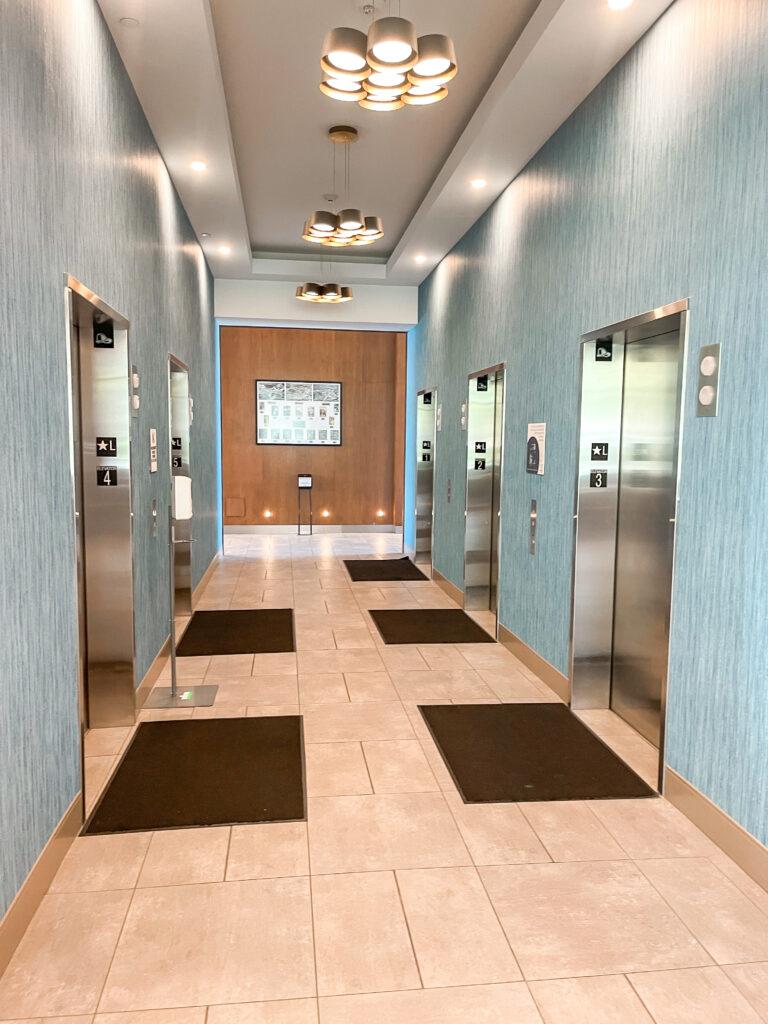 Elevators at Cambria Hotel & Suites Anaheim Resort.