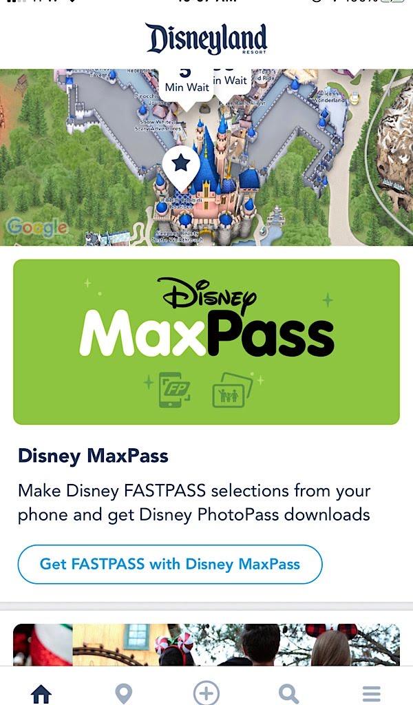 A screenshot of the former Disney MaxPass.