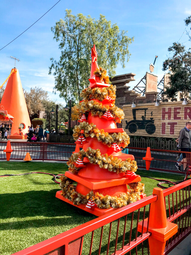 Cozy Cone Christmas Tree in Cars Land.