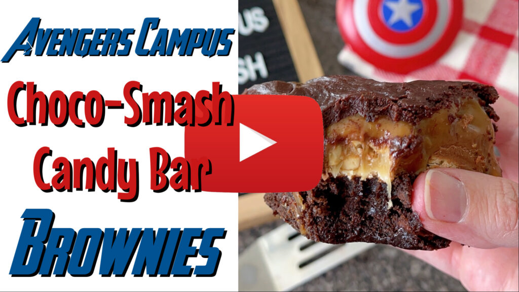 YouTube thumbnail for Avengers Campus Choco-Smash Candy Bar Brownies.