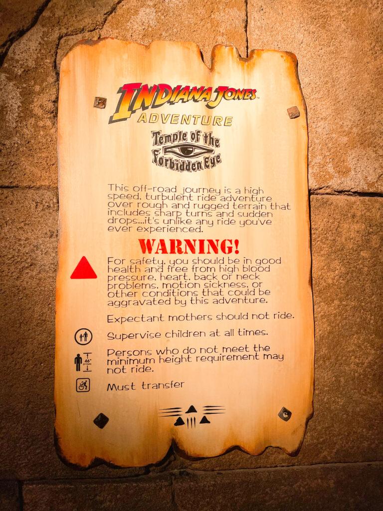 Warning sign from Indiana Jones Adventure at Disneyland.