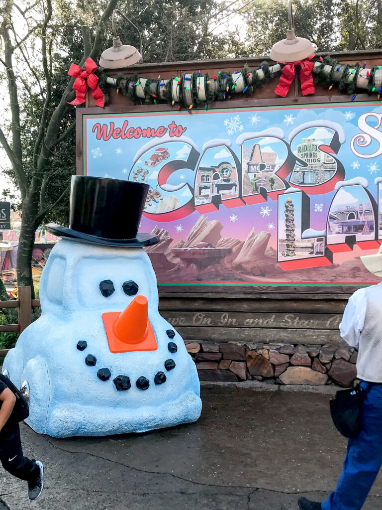 Cars Land decorated for Christmas.