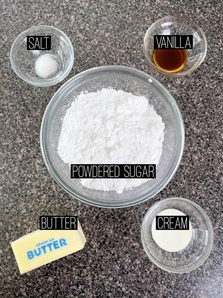 Ingredients needed for buttercream frosting.