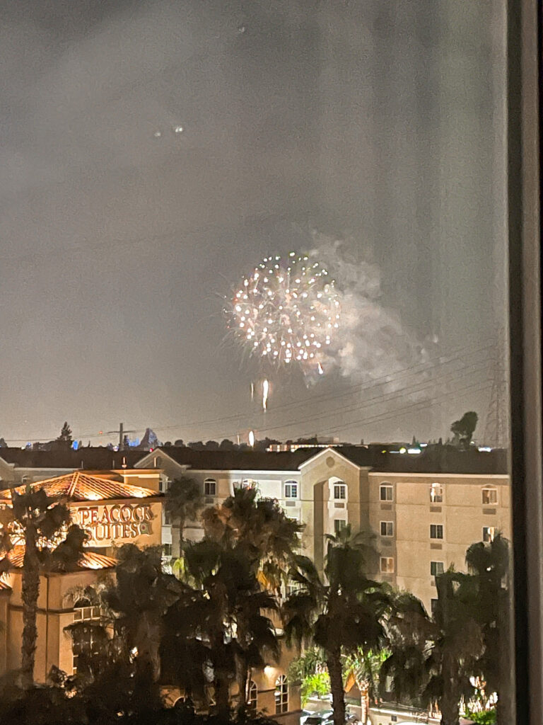 View of Disneyland fireworks from Cambria Suites Anaheim Resort.