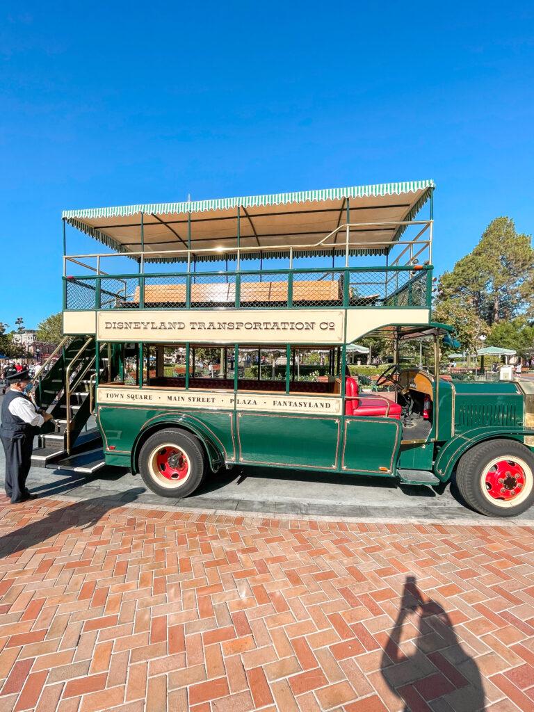Double decker bus on Main Street at Disneyland.