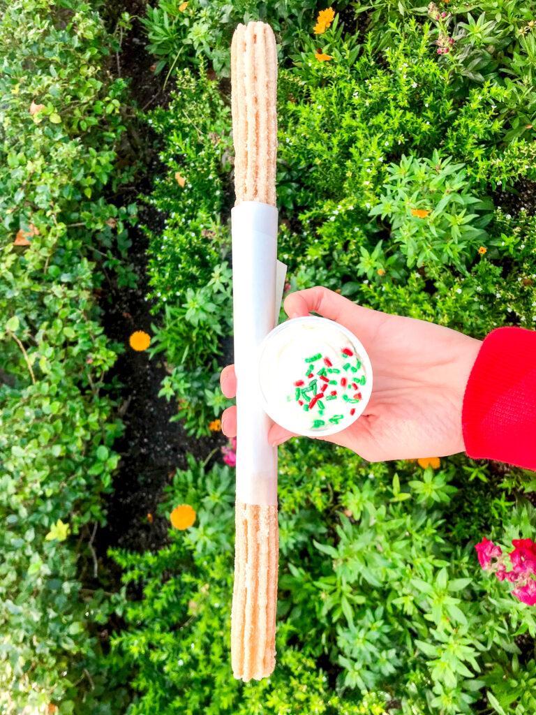 Santa's Cookies & Milk Churro at Disneyland.