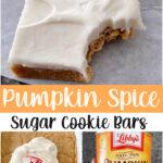 Pinterest image for pumpkin sugar cookie bars.