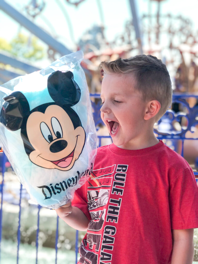 A boy and a bag of Cotton Candy from Disneyland.