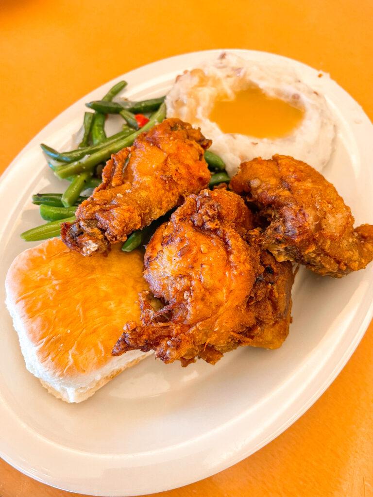 Fried Chicken dinner from Plaza Inn.