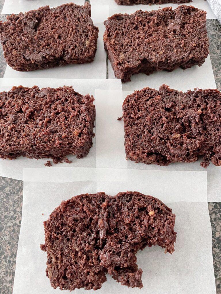 Slices of chocolate zucchini bread.