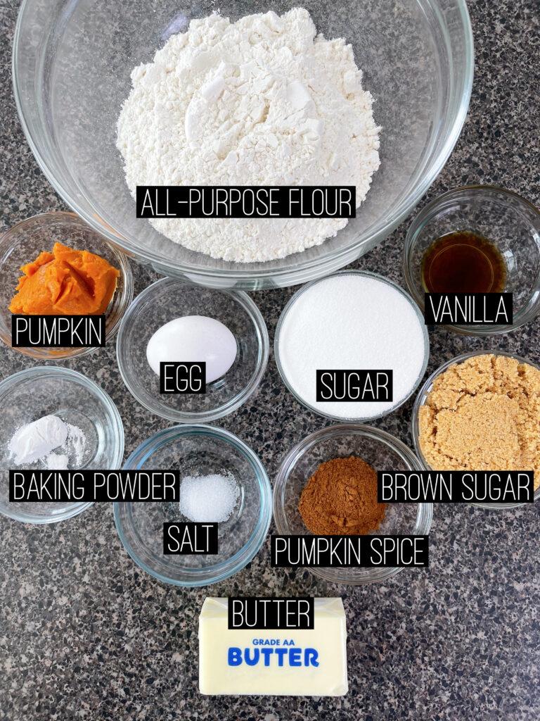 Ingredients to make pumpkin sugar cookie bars.