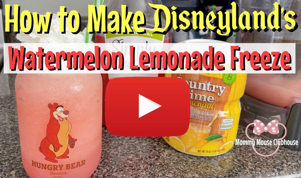 YouTube thumbnail for homemade Disneyland's Watermelon Lemonade Freeze.