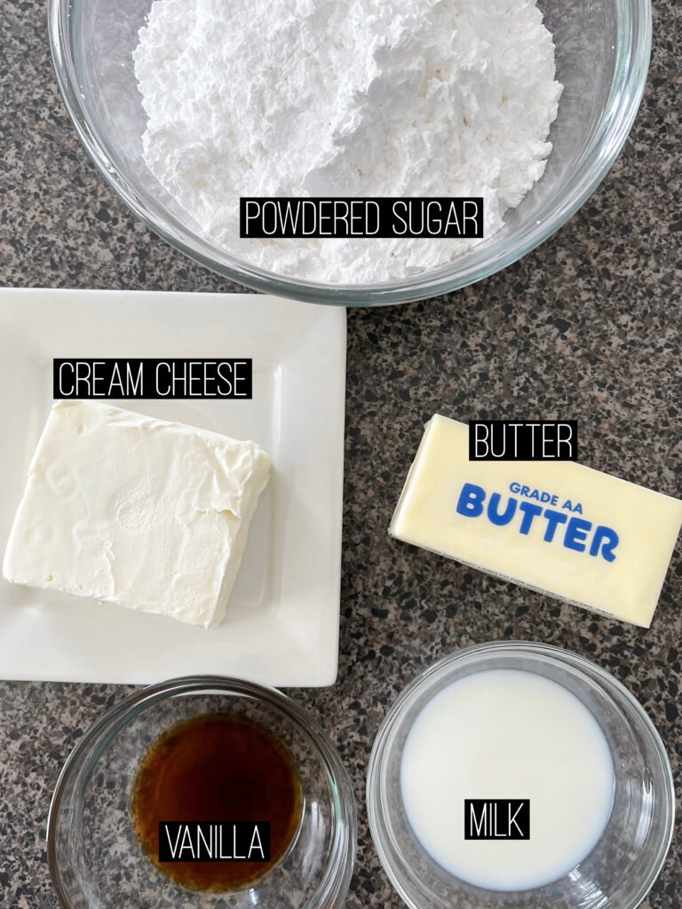 Cream cheese frosting ingredients.