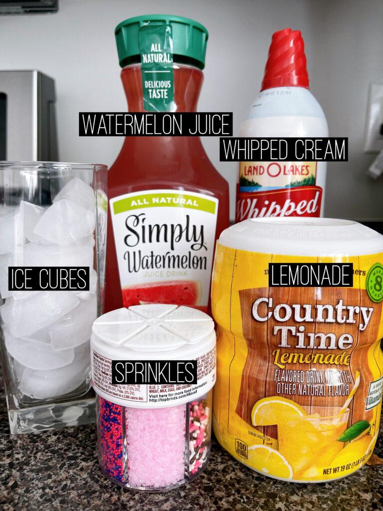 Ingredients to make Disneyland's Watermelon Lemonade Freeze.