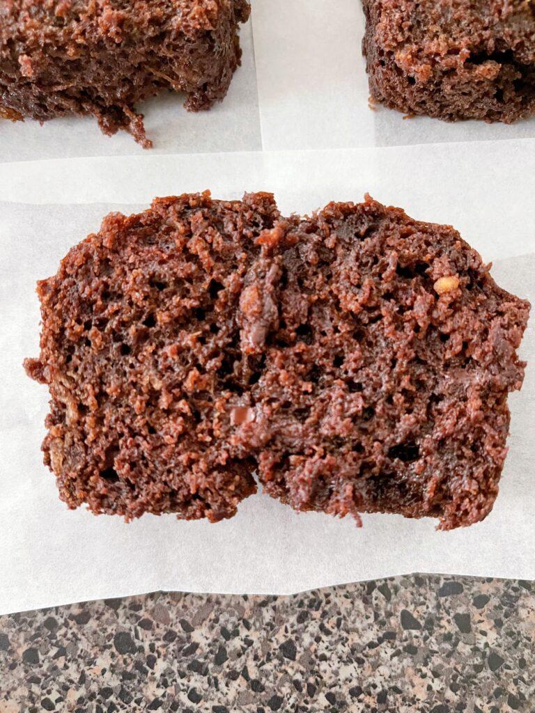 A slice of chocolate zucchini bread.