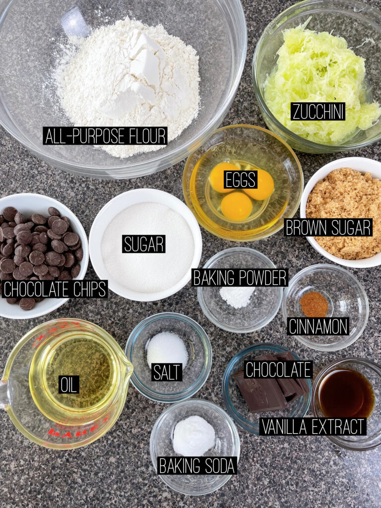 Ingredients for Chocolate Zucchini Bread.