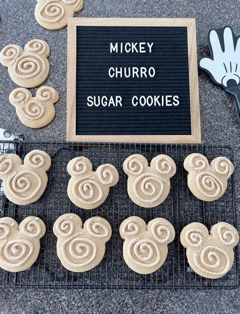 Mickey Churro Sugar Cookies on a cooling rack.