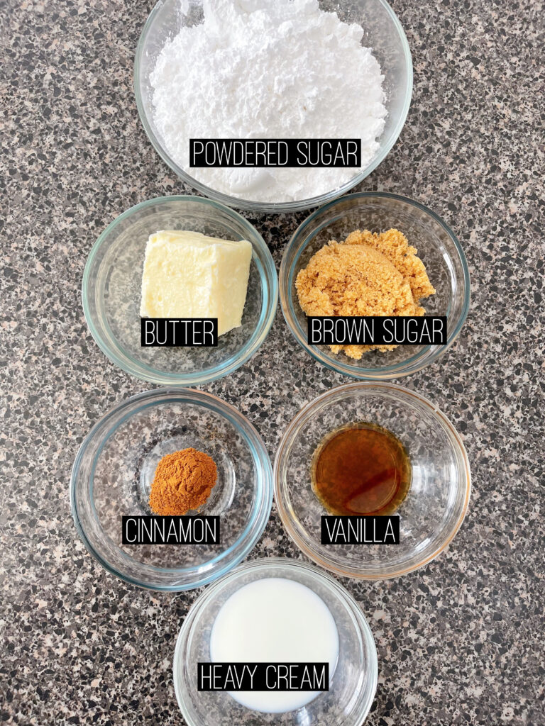 Ingredients to make churro frosting.
