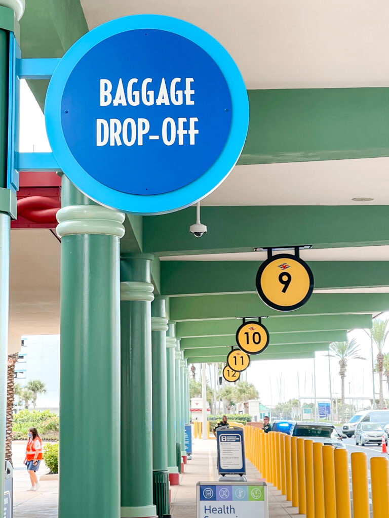 Baggage drop-off area at the Disney Cruise Line Terminal in Port Canaveral, Florida.