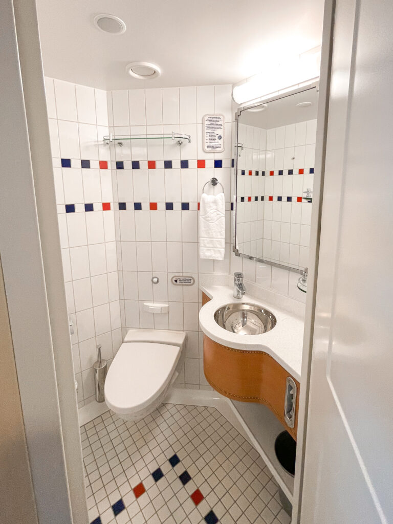 First bathroom with a toilet in Disney Dream stateroom 8614.