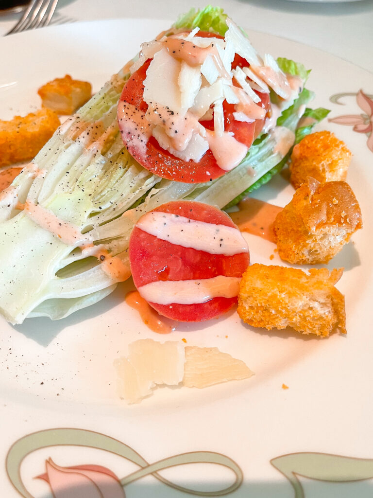 Romaine Wedge Salad from Enchanted Garden on a Disney Cruise.