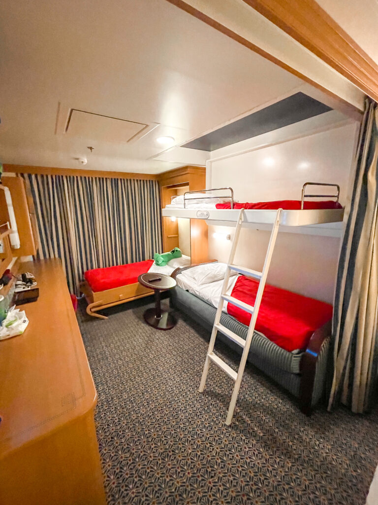 Bunkbeds and Murphy bed in Disney Dream stateroom 8614.