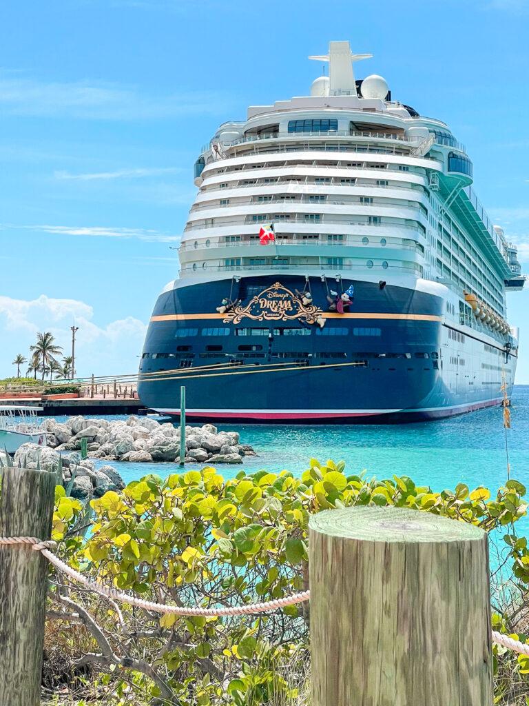 The Disney Dream cruise ship at Castaway Cay.