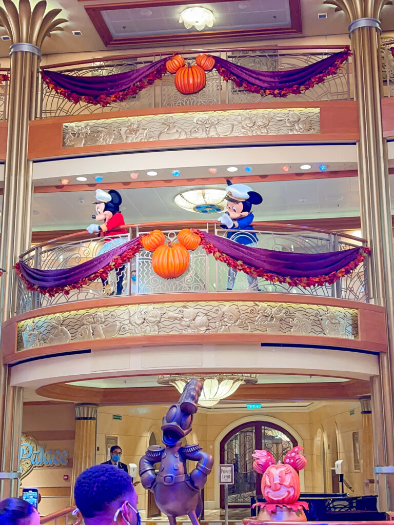 Mickey and Minnie in the atrium of the Disney Dream Criuise ship.