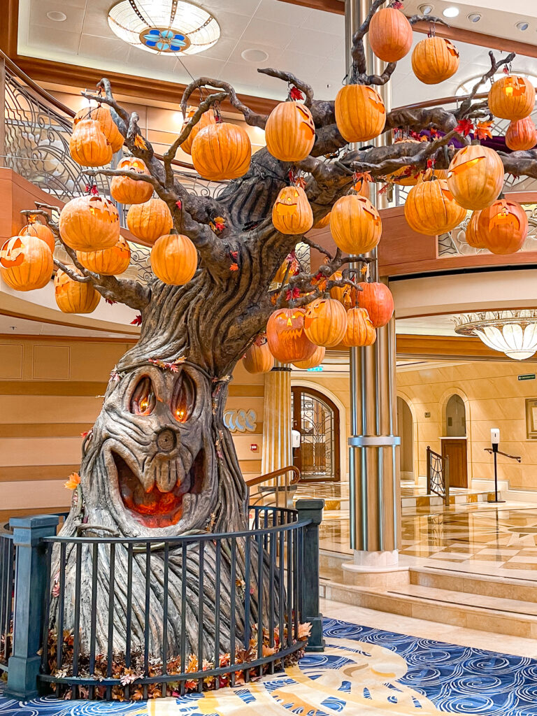 Halloween tree in the atrium of the Disney Dream for a Halloween on the High Seas cruise.
