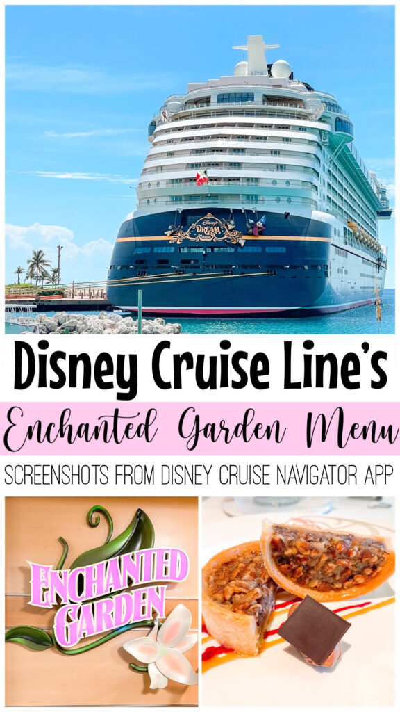 Pinterest image for screenshots of Enchanted Garden from Disney Cruise Line.
