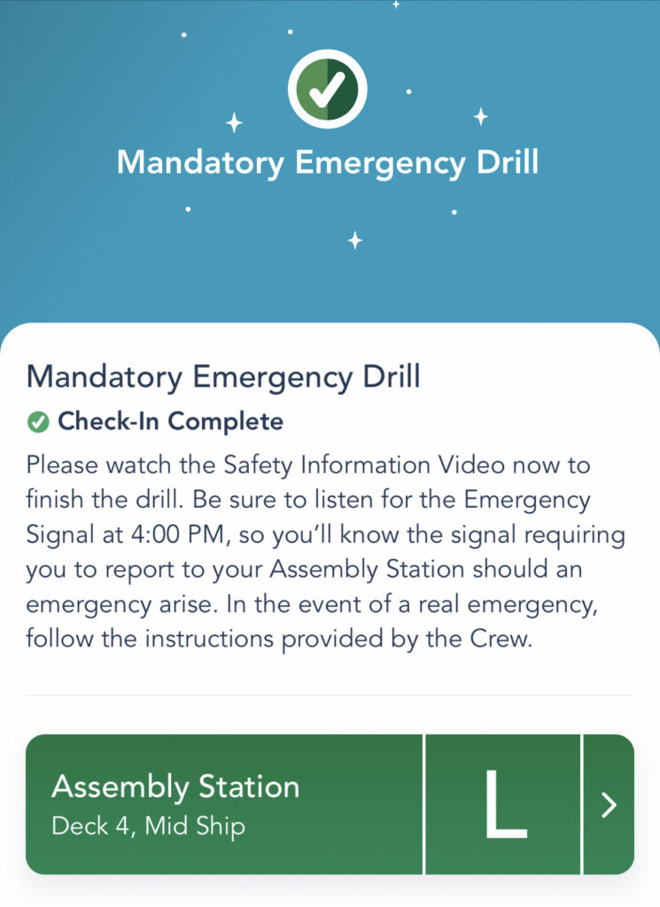 Screenshot of the safety drill on the Disney Dream.