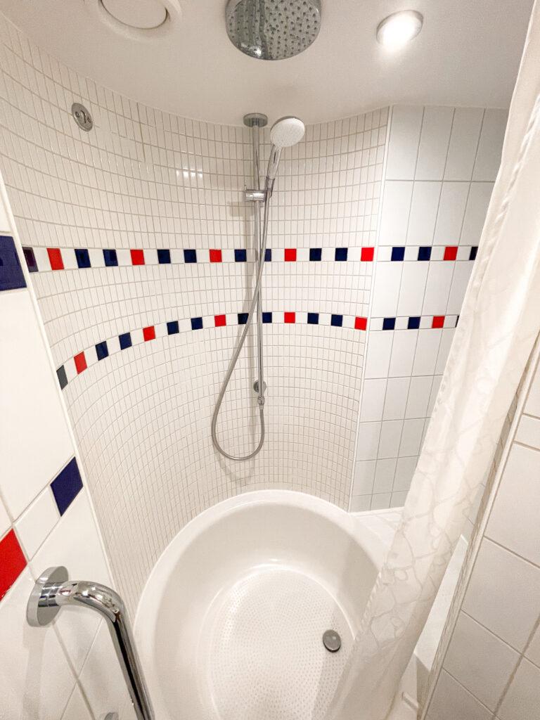 Disney Dream stateroom 8614 shower.
