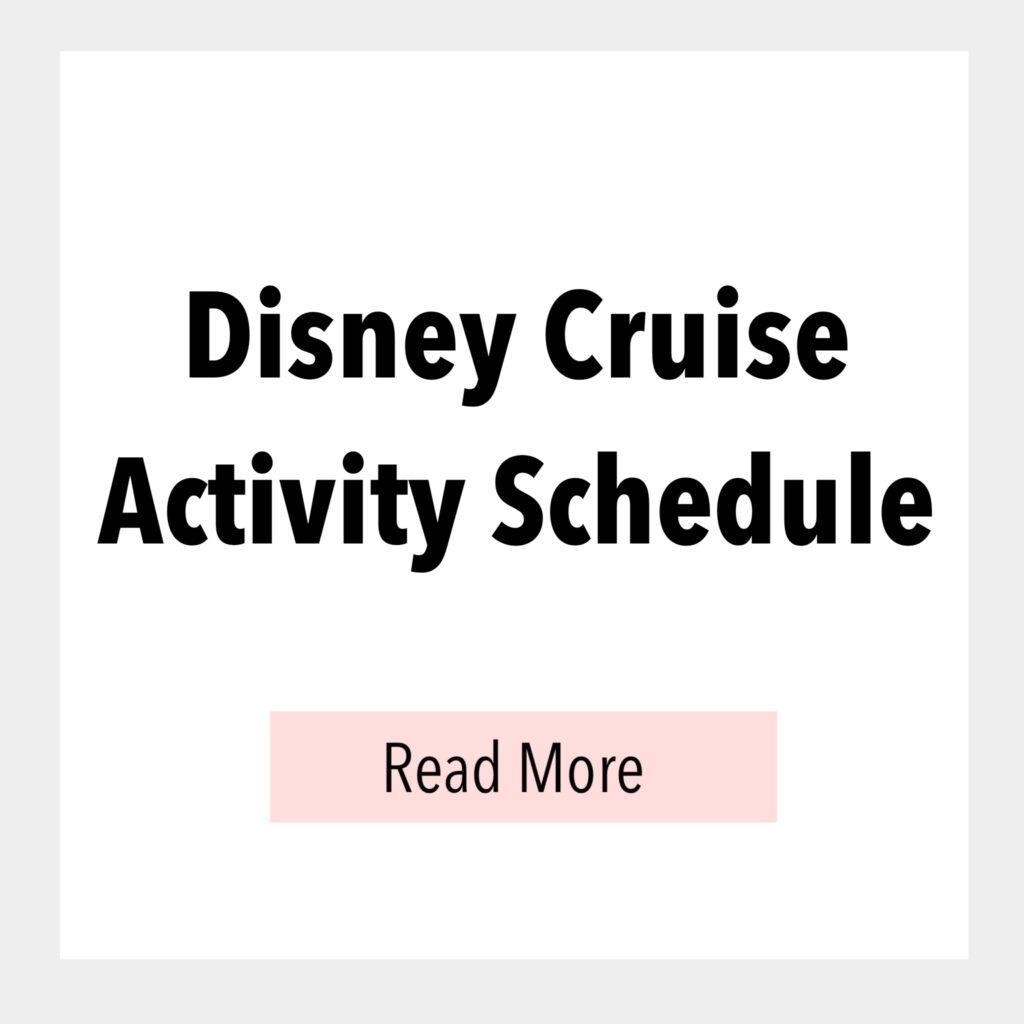 Disney Cruise Activity Schedule.