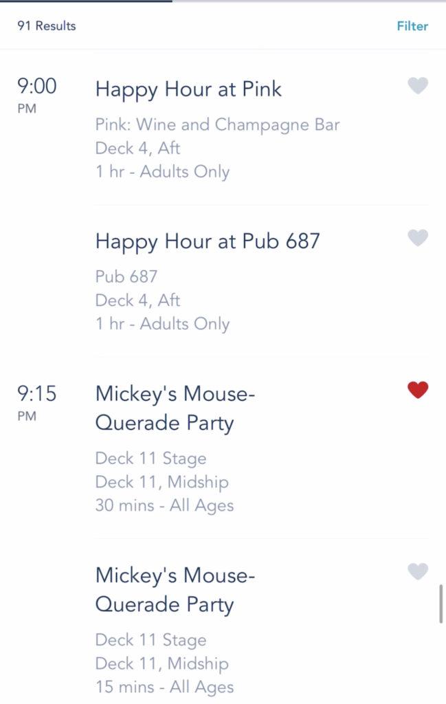 A screenshot of Disney Cruise activities on the Disney Dream.