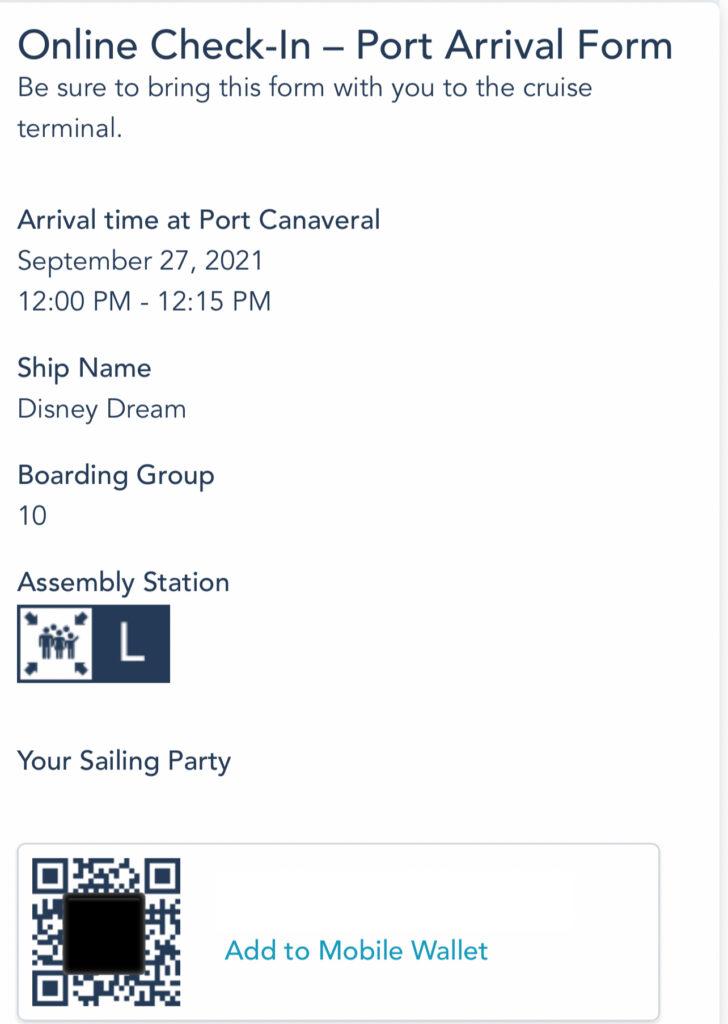 QR code to board a Disney Cruise.