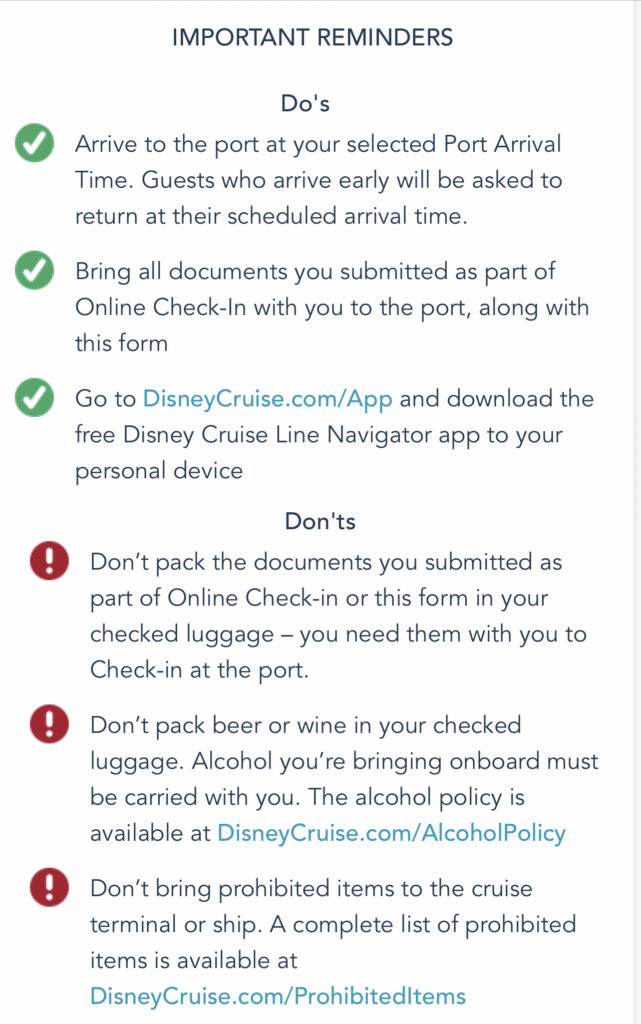 Screen shot from Disney Cruise Line with Do's and Don'ts for a Disney Cruise.