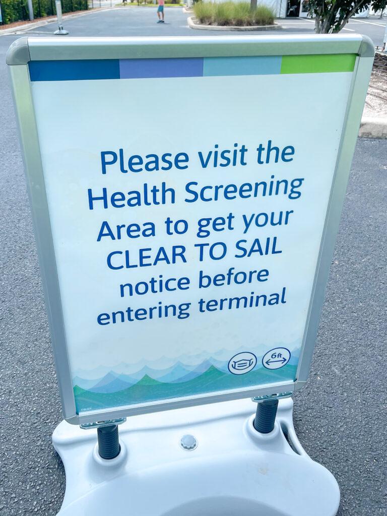 Health screening area at Disney Cruise Line Terminal.